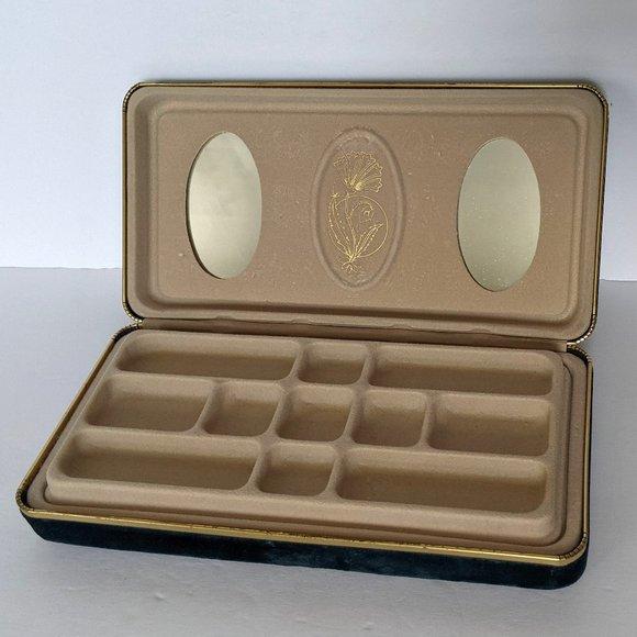 Vintage Velvet Jewelry Box Navy Blue Travel Box